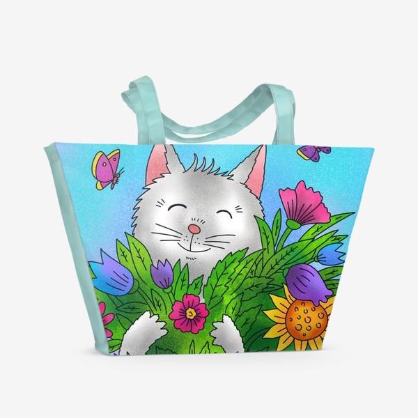Пляжная сумка «Белый котик и цветы»