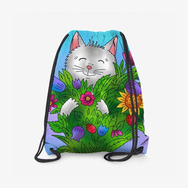 Рюкзак «Белый котик и цветы»