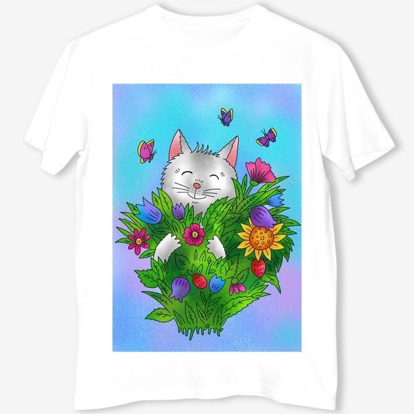 Футболка «Белый котик и цветы»