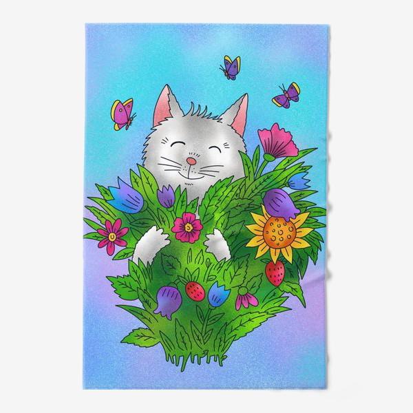 Полотенце «Белый котик и цветы»