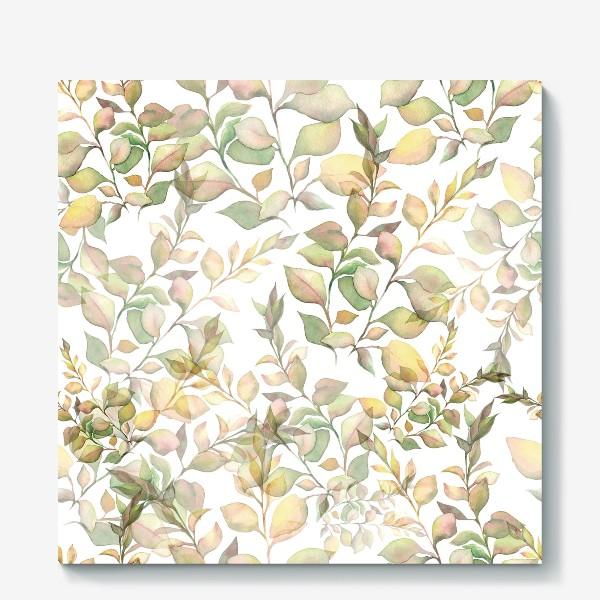 Холст «Нежный акварельный паттерн с листьями »