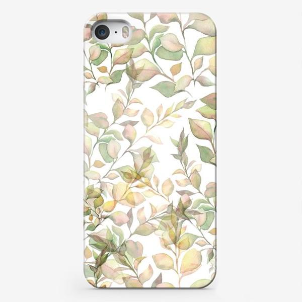 Чехол iPhone «Нежный акварельный паттерн с листьями »