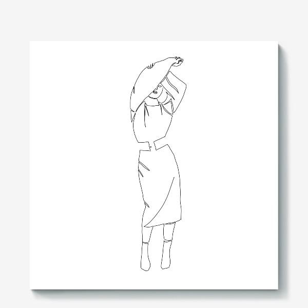 Холст «Девушка одной линией»