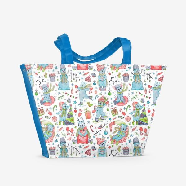 Пляжная сумка «Мишки. Новый год. »