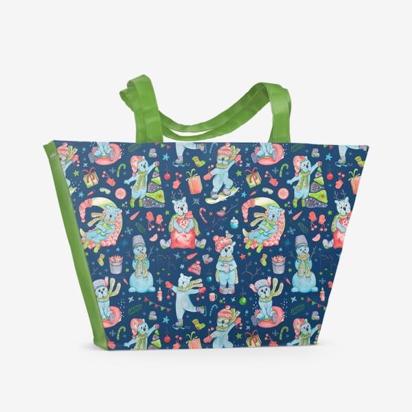 Пляжная сумка «Мишки на синем. Новый год. »