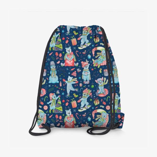 Рюкзак «Мишки на синем. Новый год. »
