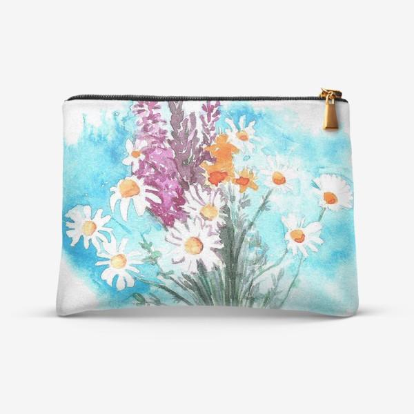 Косметичка «принт полевые цветы»