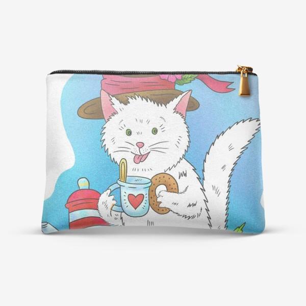 Косметичка «Белый котик пьёт чай»