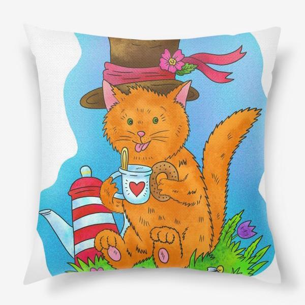 Подушка «Рыжий кот в шляпе»