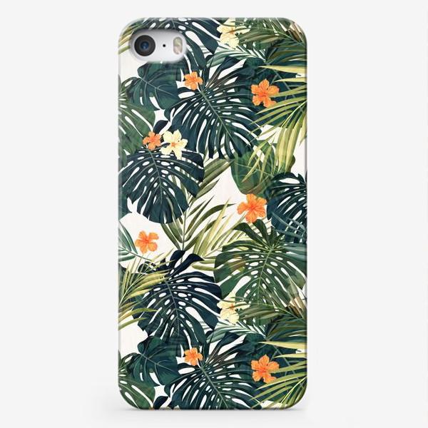 Чехол iPhone «Монстера и оранжевые гибискусы»
