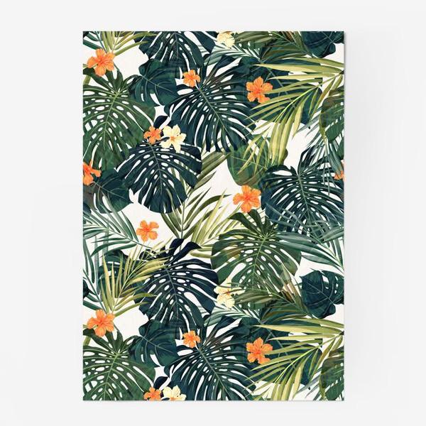Постер «Тропики - монстера и оранжевые гибискусы»