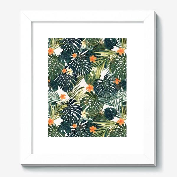 Картина «Монстера и оранжевые гибискусы»