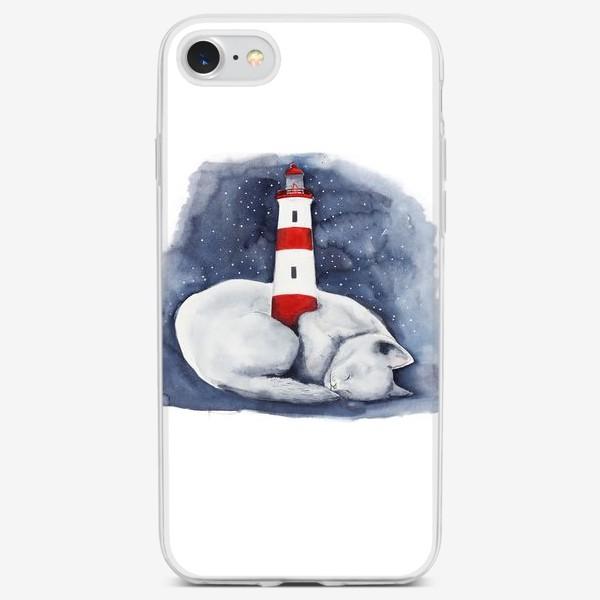 Чехол iPhone «Спящий кот и красный маяк »