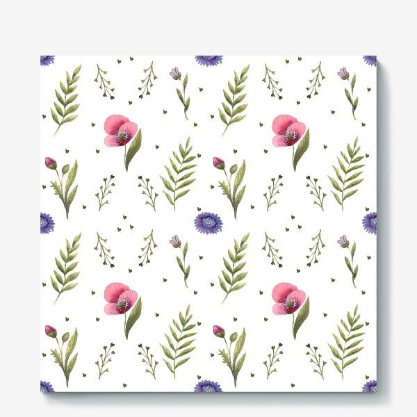 Холст «Полевые цветы. Маки»