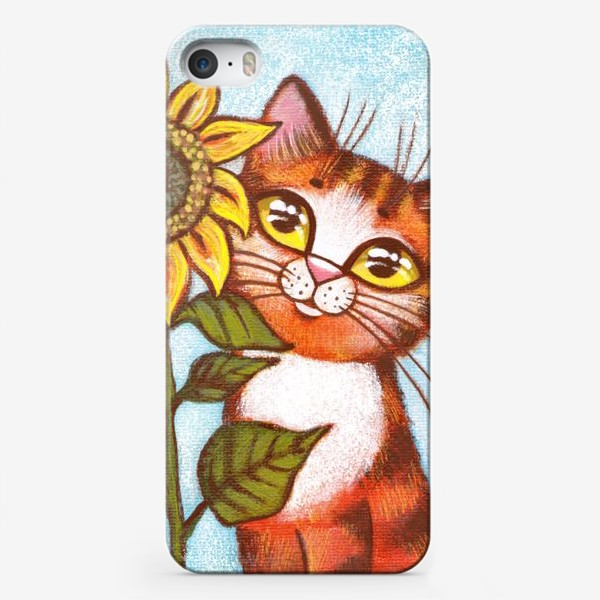 Чехол iPhone «Кошка и подсолнух»