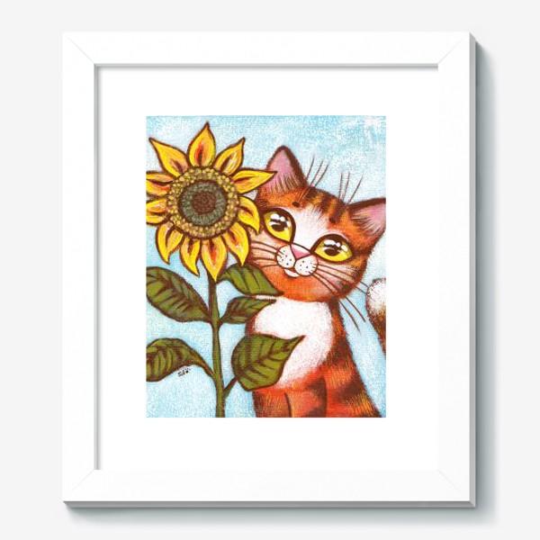 Картина «Кошка и подсолнух»