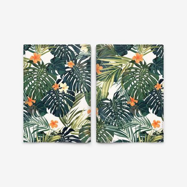 Обложка для паспорта «Тропики - монстера и оранжевые гибискусы»