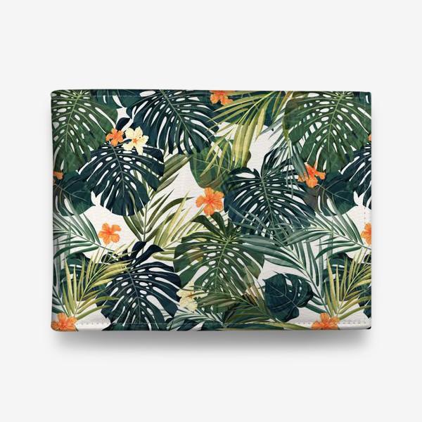 Кошелек «Тропики - монстера и оранжевые гибискусы»