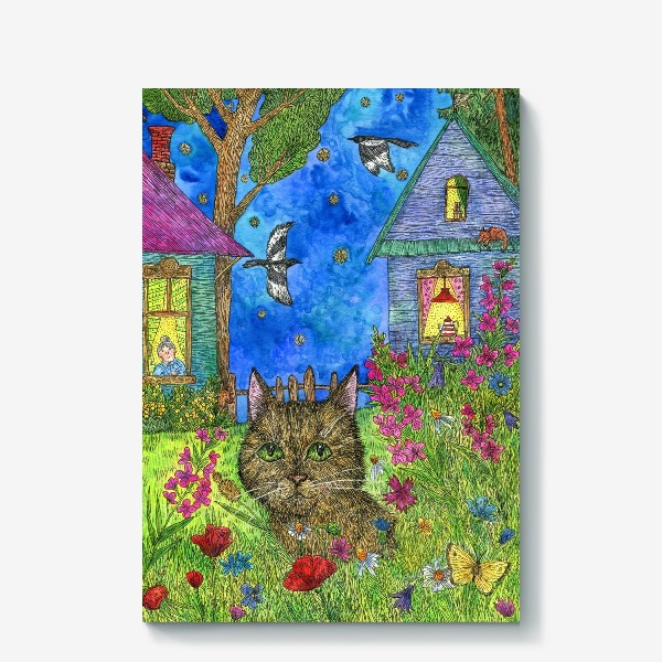 Холст «Вечер на даче. Кот и цветы»