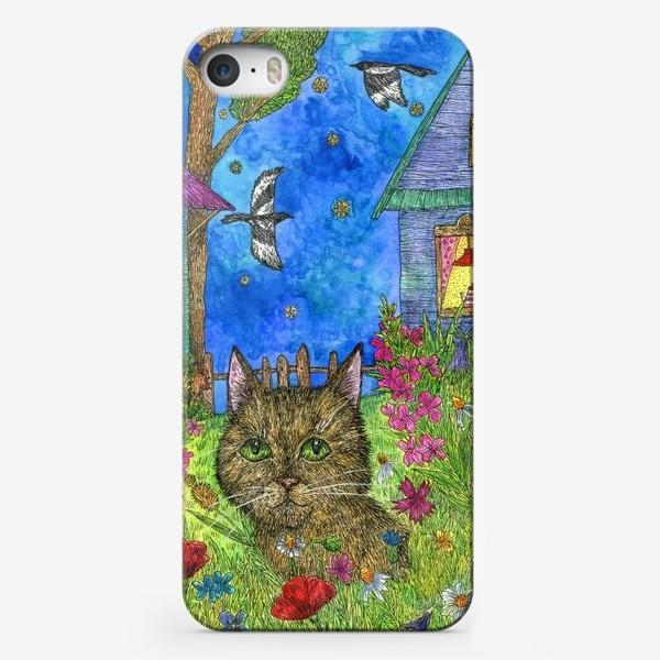 Чехол iPhone «Вечер на даче. Кот и цветы»