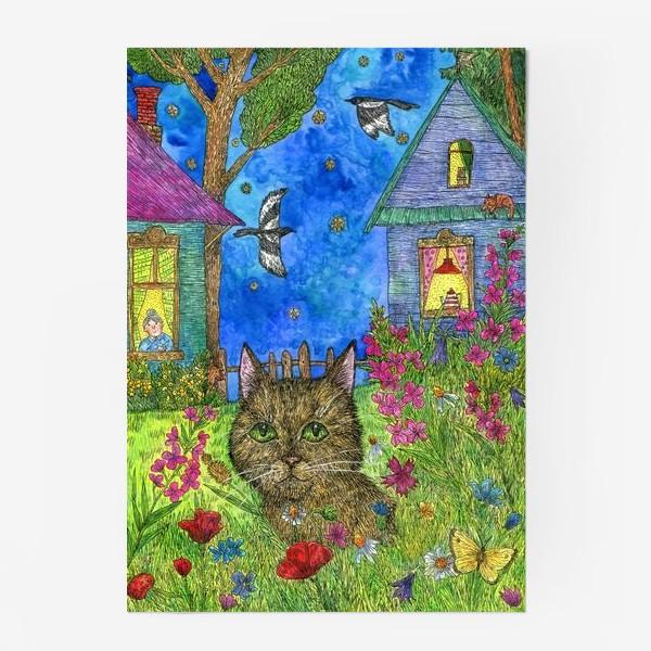 Постер «Вечер на даче. Кот и цветы»