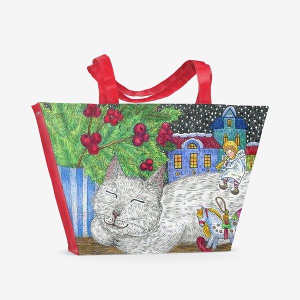 Пляжная сумка «Новогодний вечер»