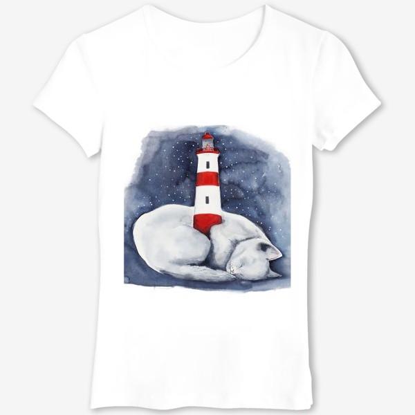 Футболка «Спящий кот и красный маяк »