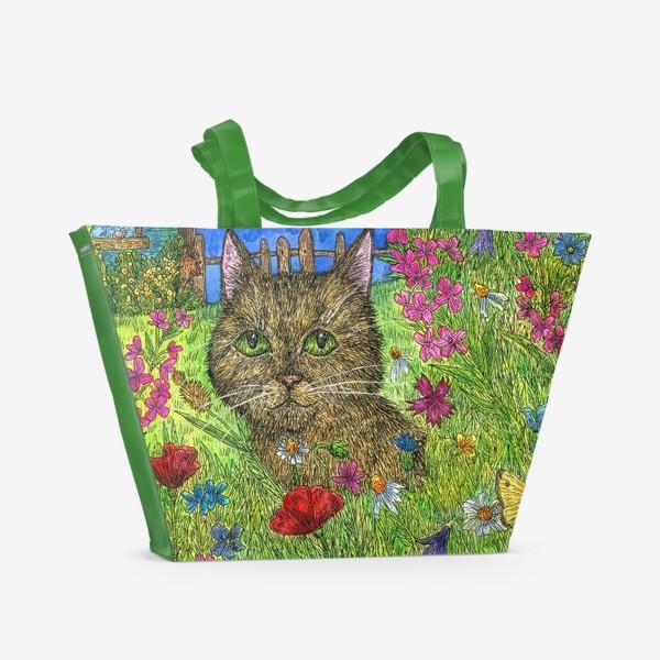 Пляжная сумка «Вечер на даче. Кот и цветы»