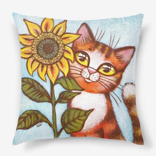 Подушка «Кошка и подсолнух»