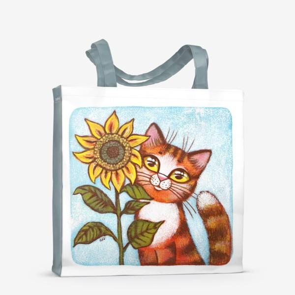 Сумка-шоппер «Кошка и подсолнух»