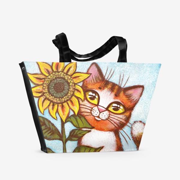 Пляжная сумка «Кошка и подсолнух»