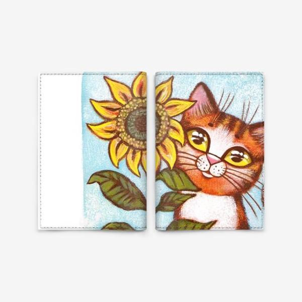 Обложка для паспорта «Кошка и подсолнух»