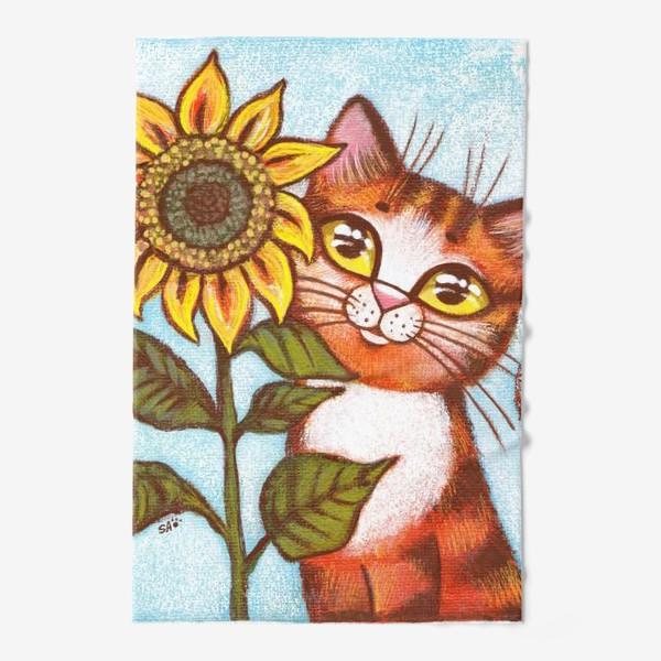 Полотенце «Кошка и подсолнух»