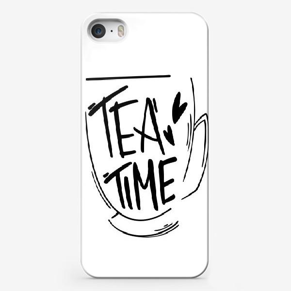 Чехол iPhone «Время чаепития в кружке. Леттеринг»
