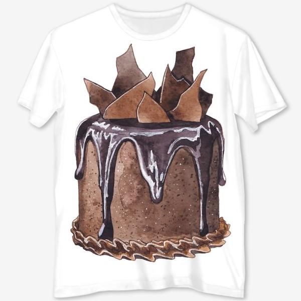 Футболка с полной запечаткой «Шоколадный торт»