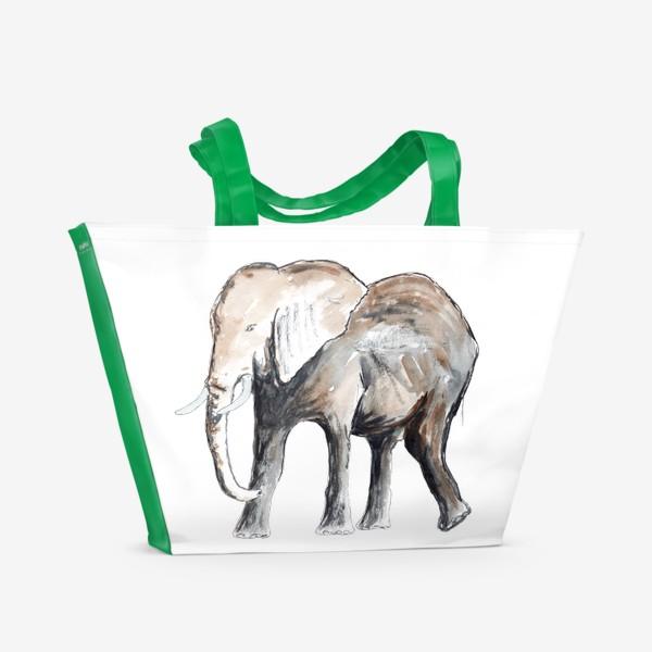 Пляжная сумка «Слон. Сильный и добрый.»