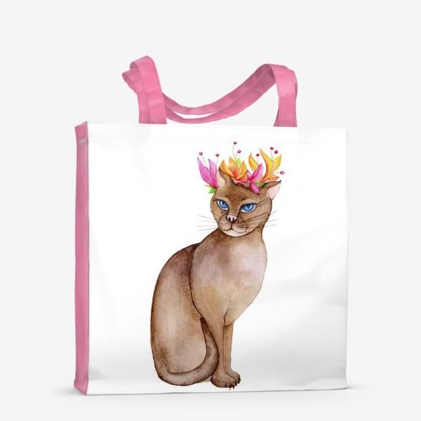 Сумка-шоппер «Кот с короной цветов»
