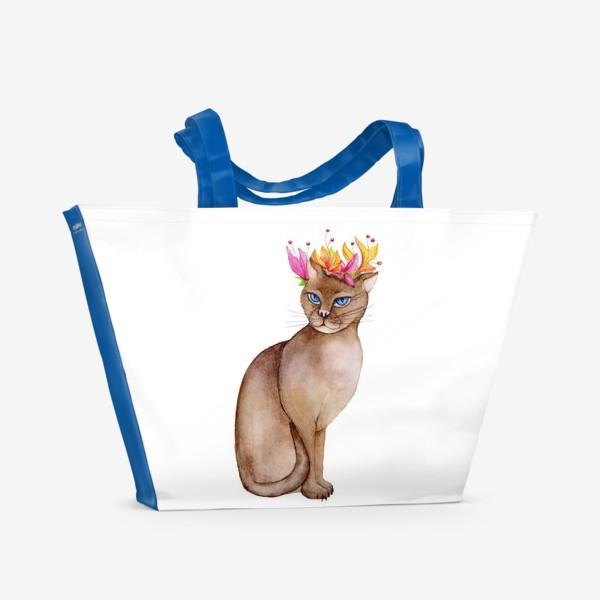 Пляжная сумка «Кот с короной цветов»