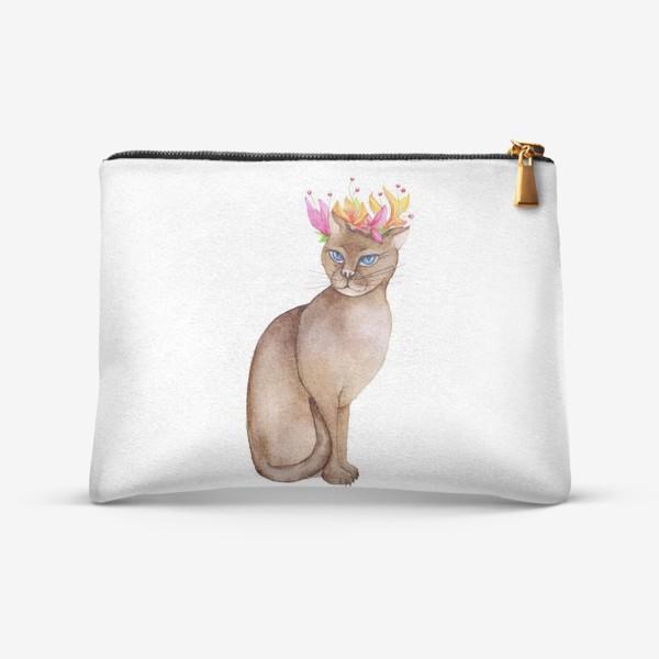 Косметичка «Кот с короной цветов»