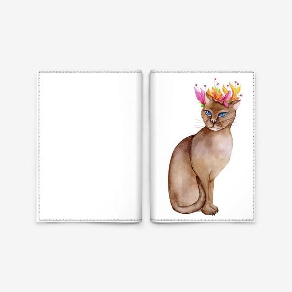 Обложка для паспорта «Кот с короной цветов»