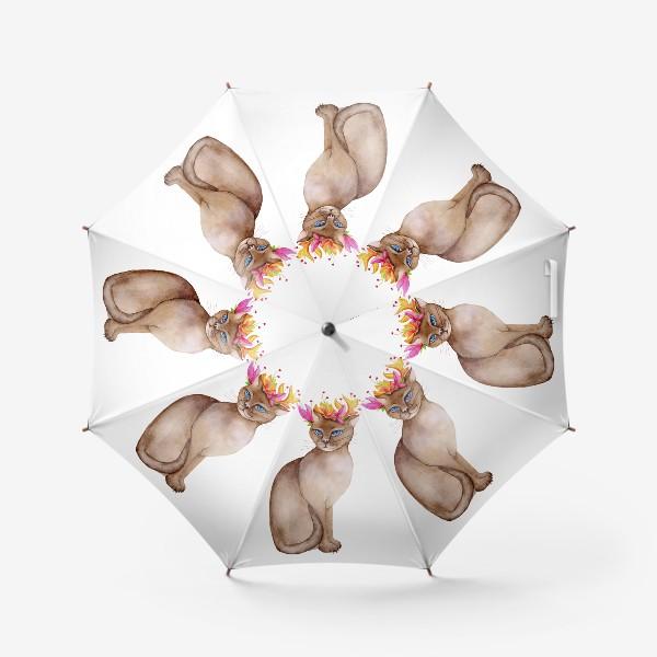 Зонт «Кот с короной цветов»