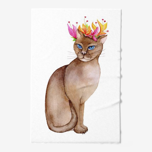 Полотенце «Кот с короной цветов»