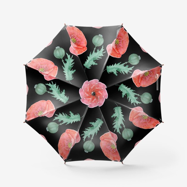 Зонт «Бесшовный рисунок красные маки.»