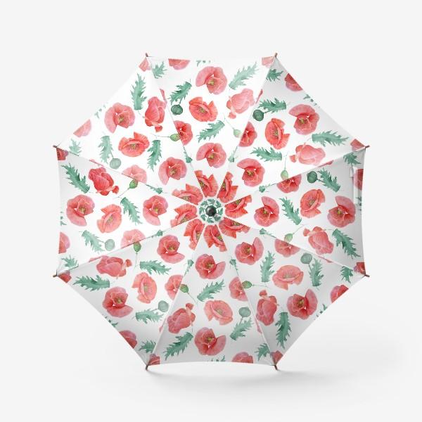 Зонт «Бесшовный рисунок красные маки на белом фоне.»