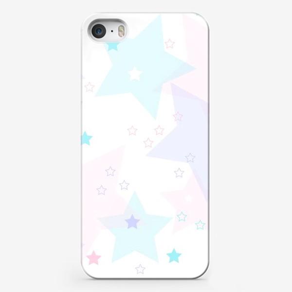 Чехол iPhone «Нежные прозрачные звезды. Паттерн.»