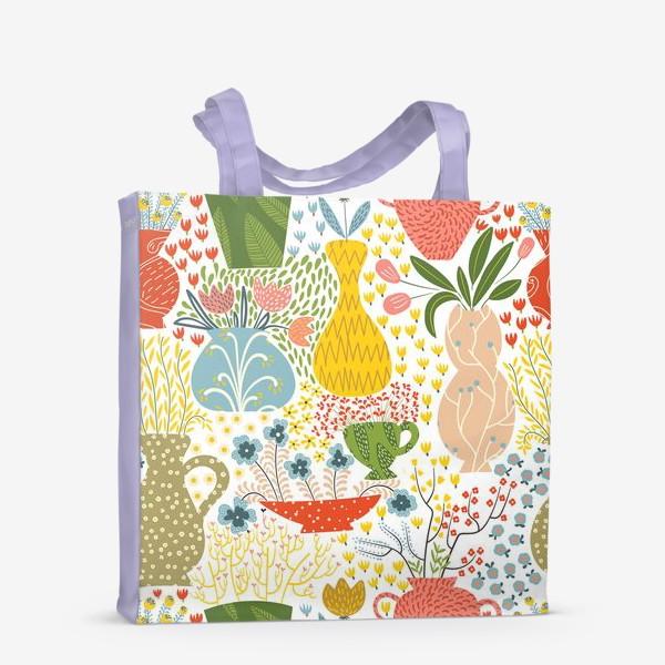 Сумка-шоппер «Цветы в вазах»