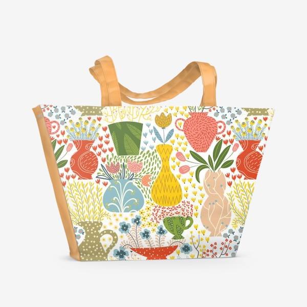 Пляжная сумка «Цветы в вазах»