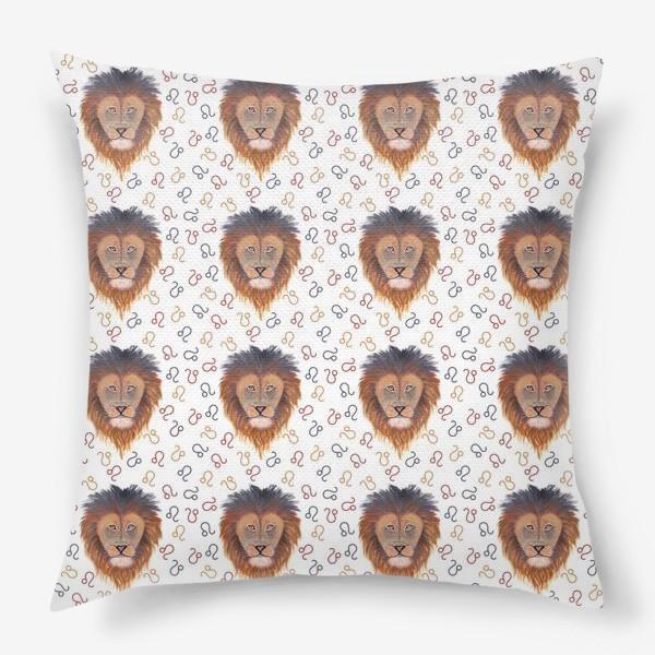 Подушка «Гороскоп. Знак зодиака лев. Бесшовный паттерн.»