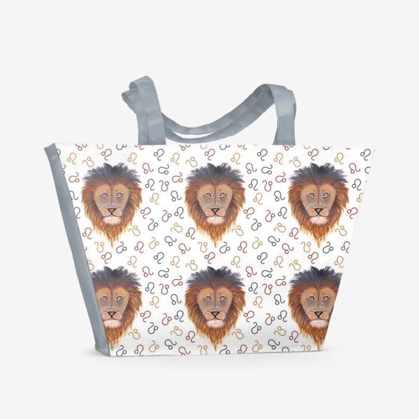 Пляжная сумка «Гороскоп. Знак зодиака лев. Бесшовный паттерн.»