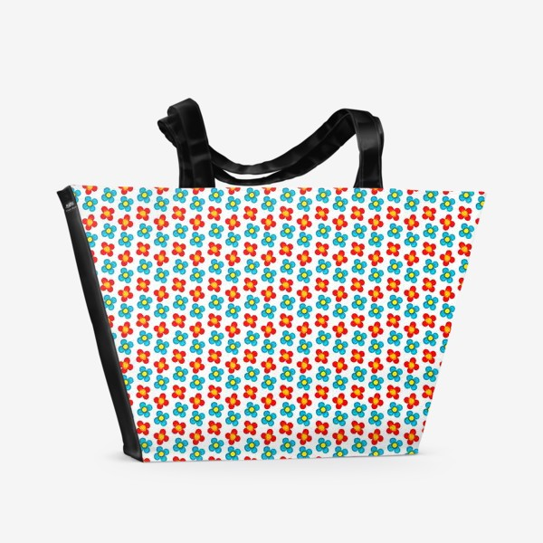 Пляжная сумка «Паттерн веселые мелкие цветы»